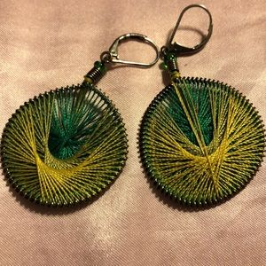 Jewelry - Beautiful two toned weaved thread earrings
